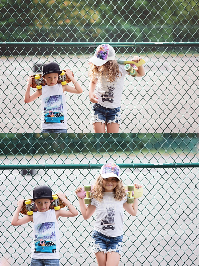 Summer Skate Park mini session by Stacy Mae Photography. Editorial inspired shoot. Urban skate session with kids.